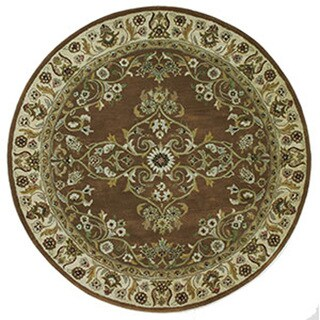 Hand-tufted Grand Tobacco Wool Round Rug (8' x 8')