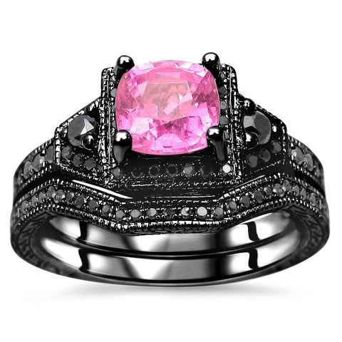 Noori 1 1/3 TGW Cushion Cut Pink Sapphire Black Diamond Engagement Ring Set - White