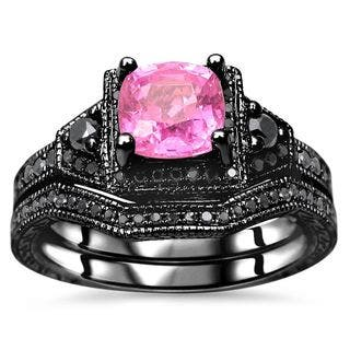 noori 1 13 tgw cushion cut pink sapphire black diamond engagement ring set - Black And Pink Wedding Ring Sets