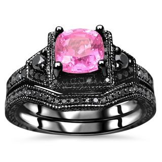 Superior Noori 1 1/3 TGW Cushion Cut Pink Sapphire Black Diamond Engagement Ring Set