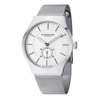 Stuhrling Original Men's Swiss Quartz Symphony Stainless Steel Mesh Band Watch