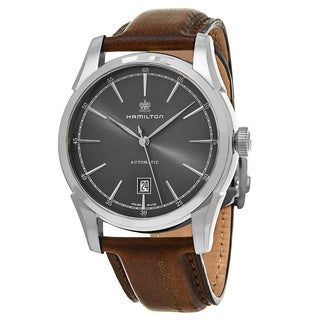 Hamilton Men's H42415591 'American Classic' Grey Dial Brown Leather Strap 'Spirit of Liberty' Swiss Automatic Watch