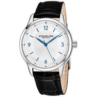 Stuhrling Original Men's Swiss Quartz Classique Black Leather Strap Watch|https://ak1.ostkcdn.com/images/products/12751783/P19528303.jpg?impolicy=medium