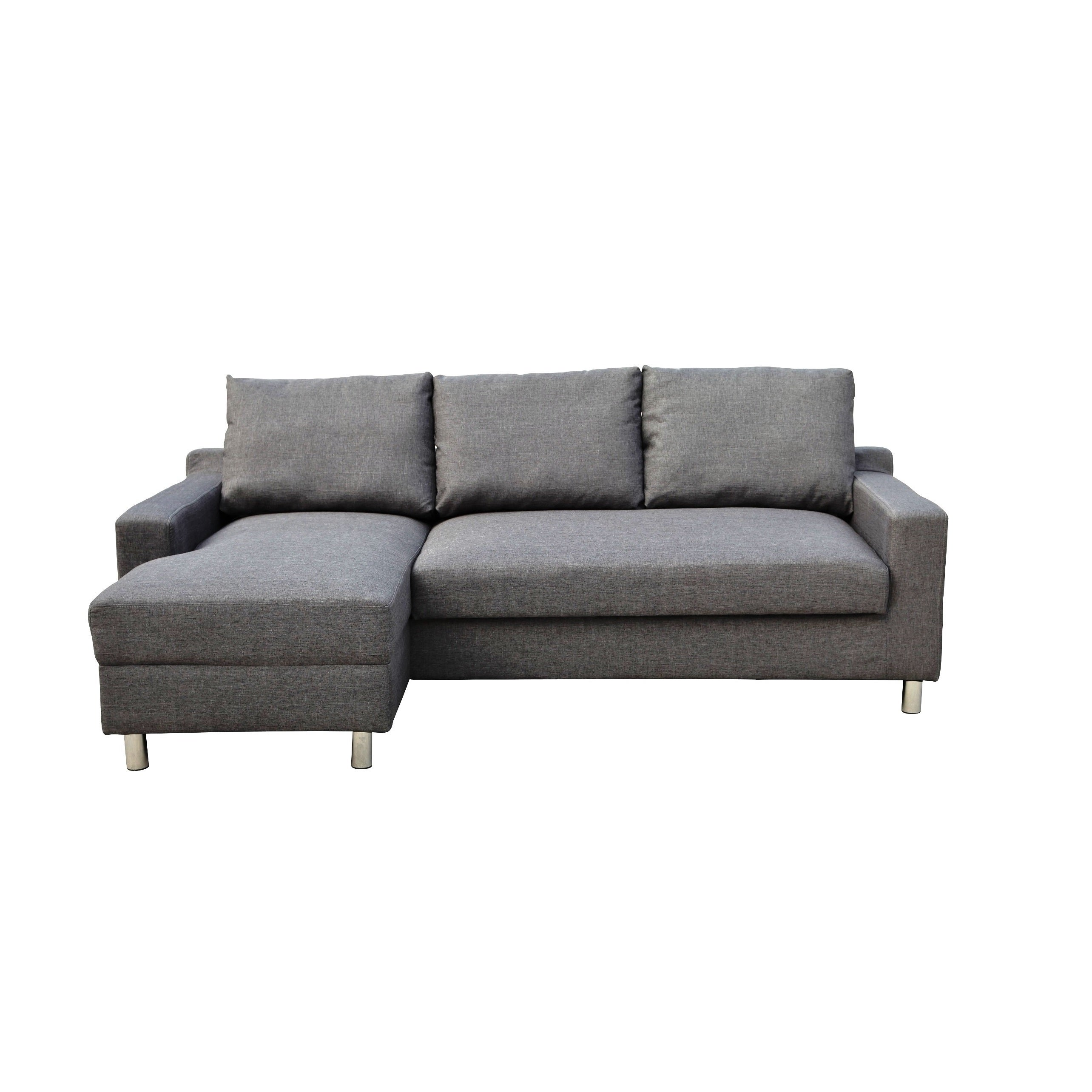 Turin Dark Grey Suede Left Facing Sectional with Pullout ...