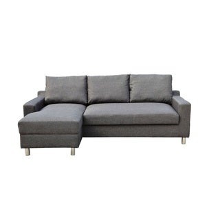 Turin Dark Grey Suede Left Facing Sectional with Pullout Sofa Bed