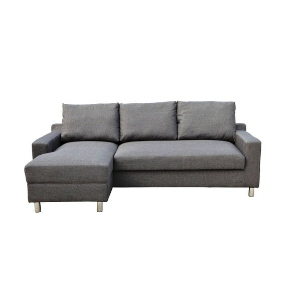 Shop Turin Dark Grey Suede Left Facing Sectional with Pullout Sofa ...