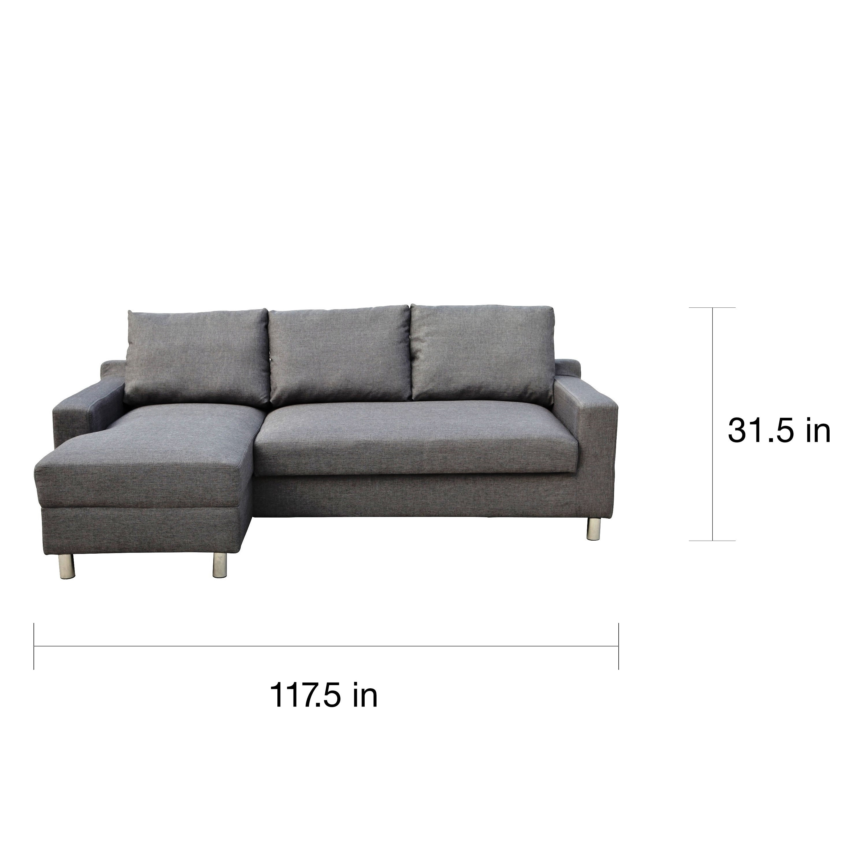 Shop Turin Dark Grey Suede Left Facing Sectional With Pullout Sofa