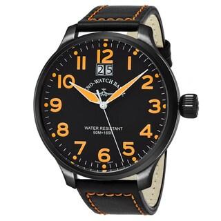 Zeno Men's 6221-7003-BKA15 'SOS' Black Dial Black Leather Strap Swiss Quartz Watch