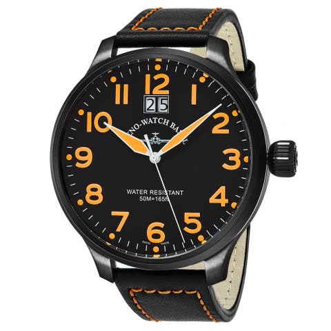 Zeno Men's 6221-7003-BKA15 'SOS' Black Dial Black Leather Strap Swiss Quartz Watch