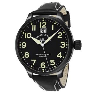 Zeno Men's 6221-7003-BKA1 'SOS' Black Dial Black Leather Strap Swiss Quartz Watch
