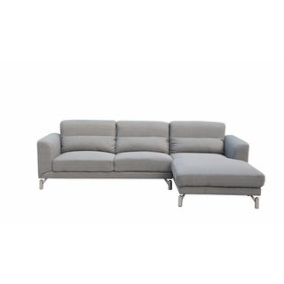 Clarinda Fabric Sectional in Soft Grey Color-Right Facing