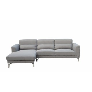 Clarinda Soft Grey Fabric Left-facing Sofa Sectional