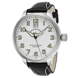 Zeno Men's 6221-7003-A2 'SOS' White Dial Black Leather Strap Swiss Quartz Watch