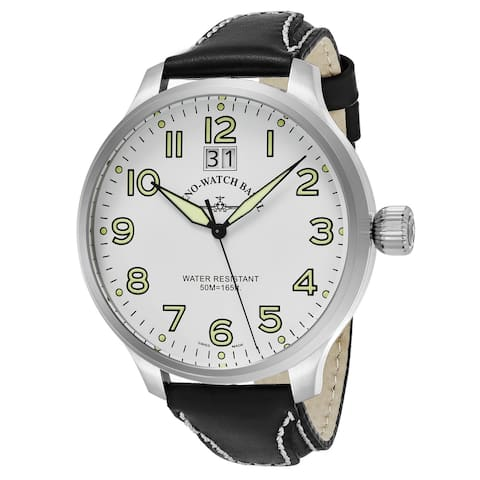 Zeno Men's 6221-7003-A2 'SOS' White Dial Black Leather Strap Swiss Quartz Watch