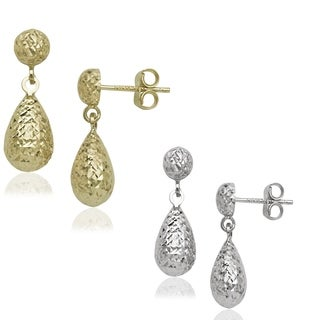 10-karat Yellow or White Gold Diamond-cut Post Dangle Teardrop Earrings