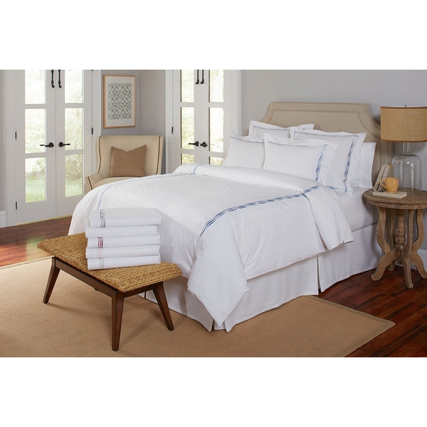 Pointehaven 300 Thread Count Cotton Luxury Wave Embroidered Oversized Duvet Set