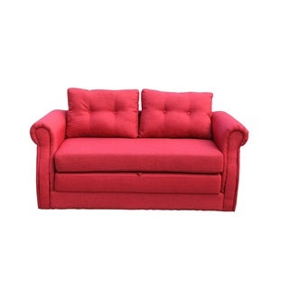Lucca Red Convertible Sleeper Loveseat