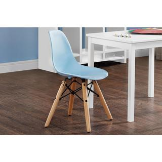 DHP Kids Blue Molded Chair with Wood Leg