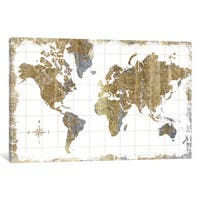 iCanvas Gilded Map by All That Glitters Canvas Print