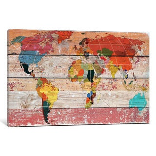 iCanvas World Map by Irena Orlov Canvas Print