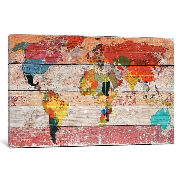 Shop iCanvas World Map by Irena Orlov Canvas Print - Free Shipping ...