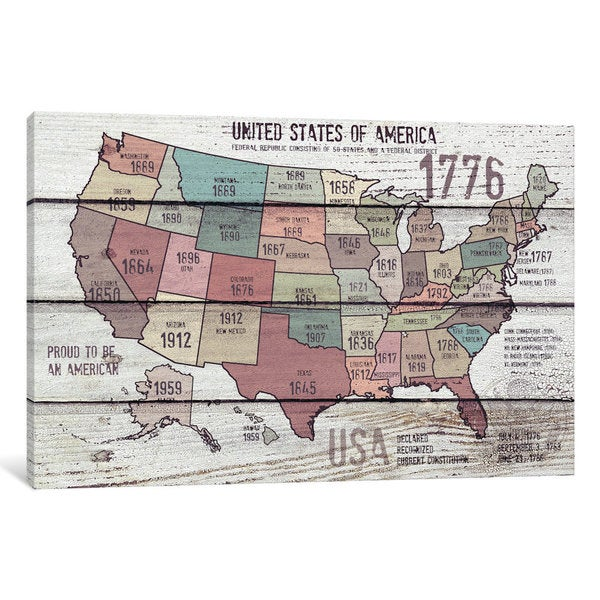 iCanvas The United States Of America Map III by Irena Orlov Canvas Print