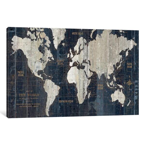 Shop iCanvas Old World Map Blue by Wild Apple Portfolio Canvas Print ...