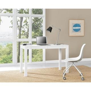 Porch & Den Alley White XL Desk with 2 Drawers