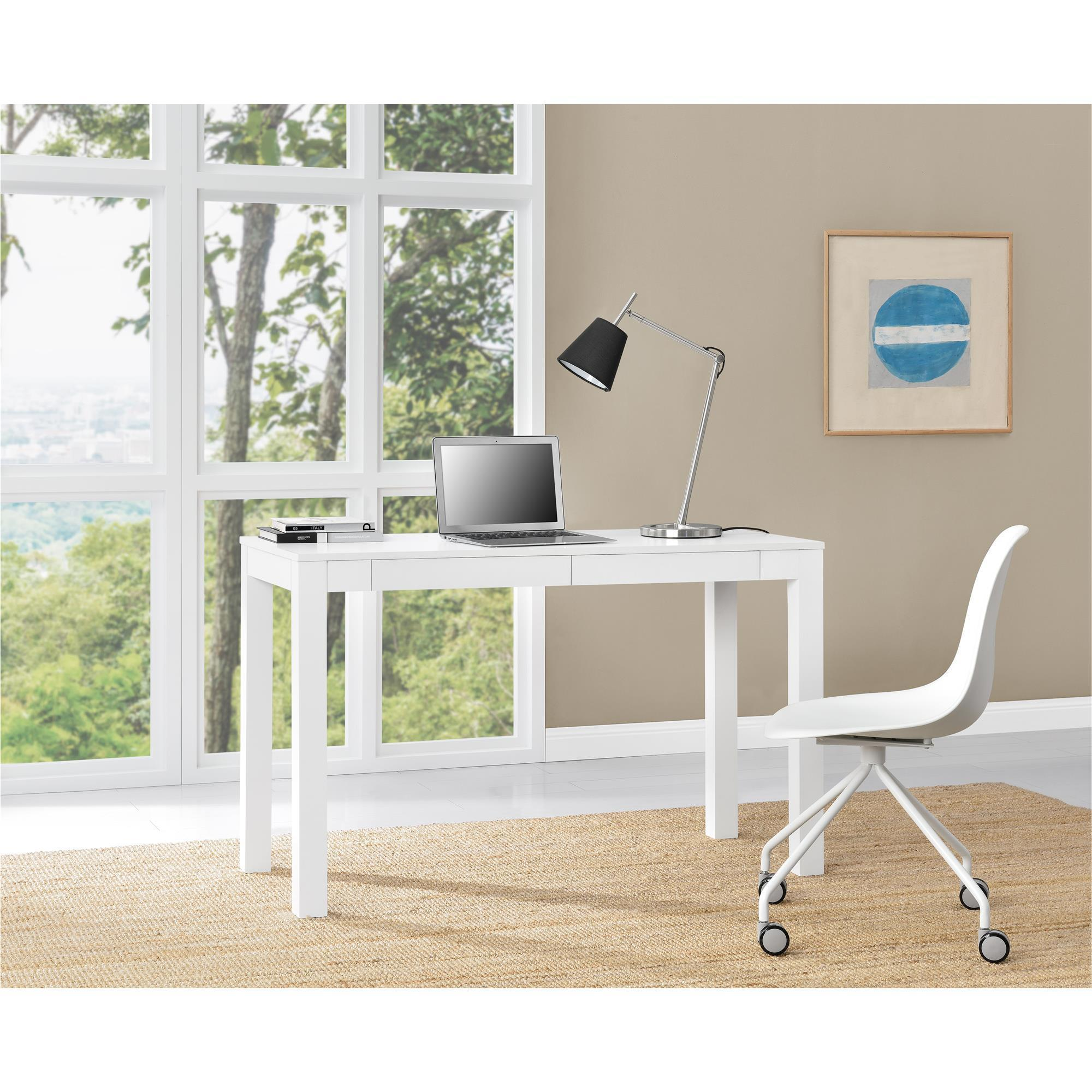 Ameriwood Home Parsons White XL Desk with 2 Drawers (Desk...