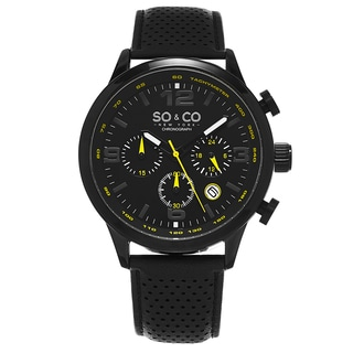 SO&CO New York Men's Quartz Monticello Chronograph Tachymeter Black Leather Strap Watch