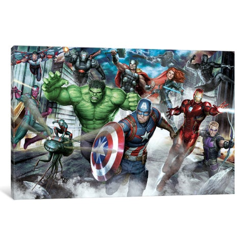iCanvas Avengers Assemble: Classic Full Team Urban Battle Situational Art by Marvel Comics Canvas Print