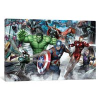 iCanvas Avengers Assemble: Classic Full Team Urban Battle Situational Art by Marvel Comics Canvas Print