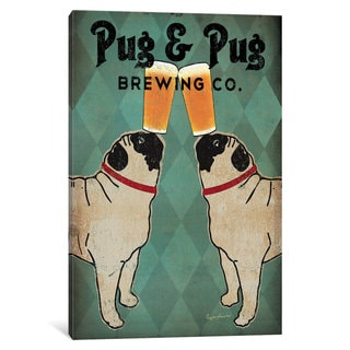 iCanvas Pug and Pug Brewing by Ryan Fowler Canvas Print