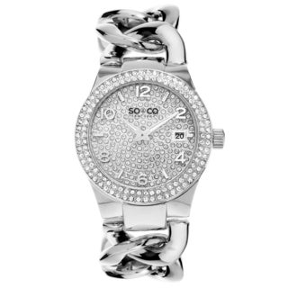 SO&CO New York Women's Stainless Steel SoHo Crystal Chain Link Bracelet Quartz Watch