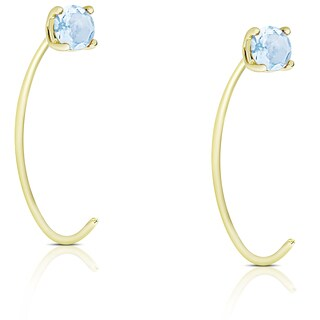 Dolce Giavonna Gold Over Sterling Silver Blue Topaz Circle Earrings