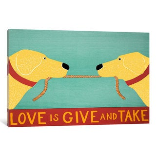 iCanvas Love Is Yellow Yellow by Stephen Huneck Canvas Print