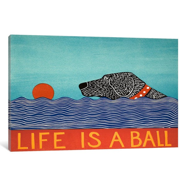 iCanvas Life Is A Ball Black by Stephen Huneck Canvas Print