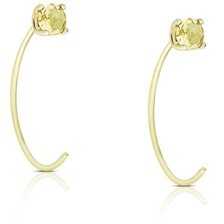 Dolce Giavonna Gold Over Sterling Silver Citrine Circle Earrings - Yellow