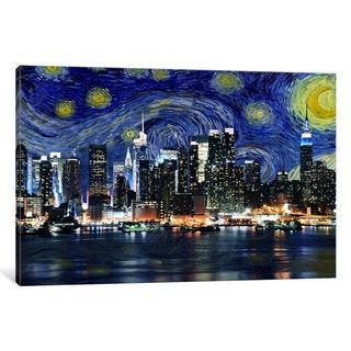 iCanvas New York Starry Night Skyline by iCanvas Canvas Print