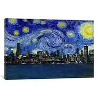 iCanvas Chicago, Illinois Starry Night Skyline by iCanvas Canvas Print