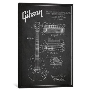 iCanvas Gibson Guitar Charcoal Patent Blueprint by Aged Pixel Canvas Print