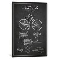 iCanvas Bike Charcoal Patent Blueprint by Aged Pixel Canvas Print