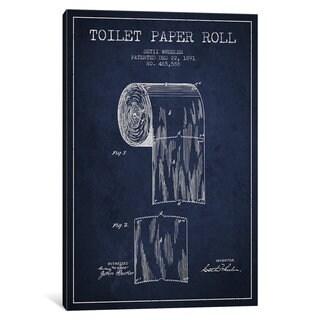 iCanvas Toilet Paper Navy Blue Patent Blueprint by Aged Pixel Canvas Print