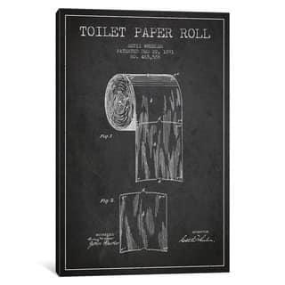 iCanvas Toilet Paper Charcoal Patent Blueprint by Aged Pixel Canvas Print