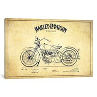 iCanvas Harley-Davidson Vintage Patent Blueprint by Aged Pixel Canvas Print