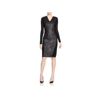 Elie Tahari Women's Shelby Black Polyester Long-sleeve V-neck Sheath Dress
