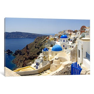 iCanvas High angle view of a church, Oia, Santorini, Cyclades Islands, Greece by Panoramic Images Canvas Print