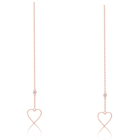 Dolce Giavonna Rose Gold Over Silver or Sterling Silver Cubic Zirconia Heart Chain Earrings