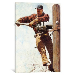 iCanvas The Lineman by Norman Rockwell Canvas Print
