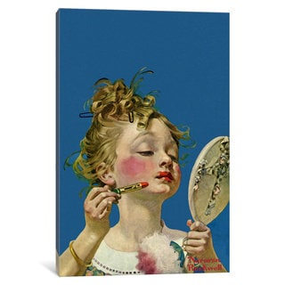 iCanvas Little Girl with Lipstick by Norman Rockwell Canvas Print